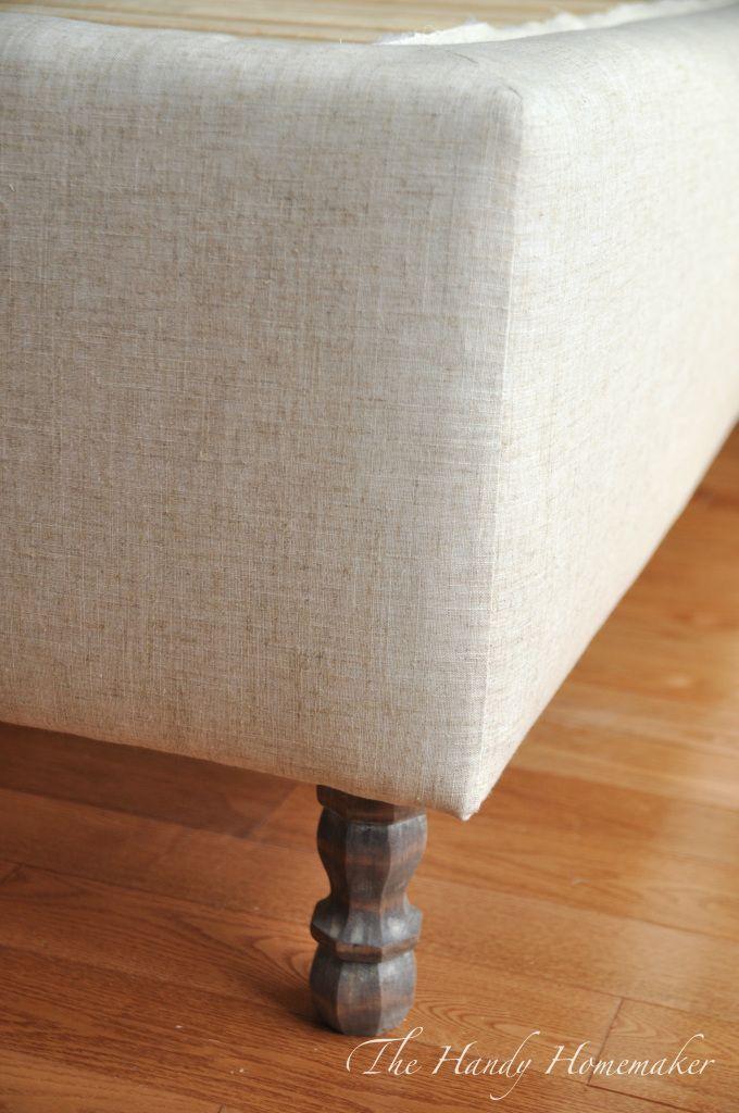 Narrow Leg Upholstered Bed Frame Linen Weave