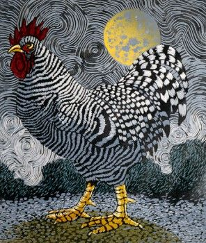 Rooster and Moon II - woodcut print - Barry Wilson (born 1961, U.S.A.)