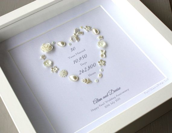 Framed Personalised Pearl Anniversary Wedding Keepsake Artwork Ready To Add A Phrase Number Or Initials Centre