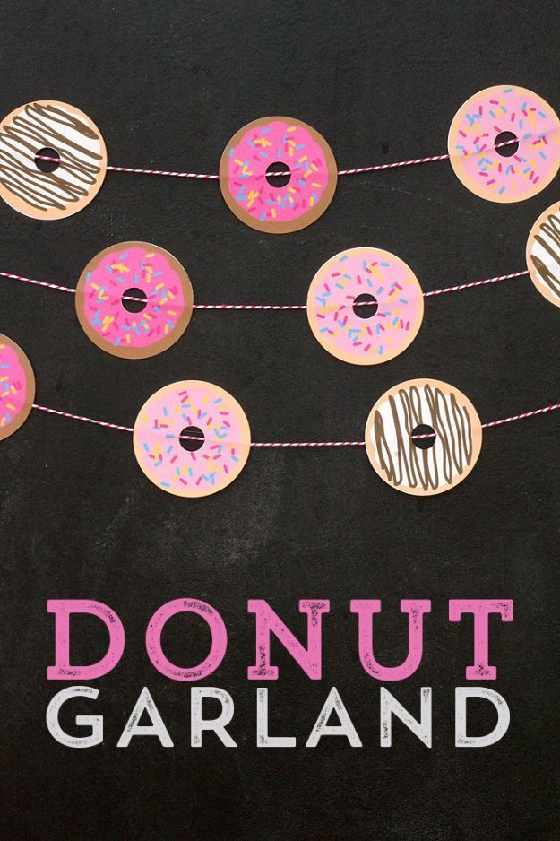 DIY Teen Room Decor Ideas for Girls   Adorable Doughnut Garland   Cool Bedroom Decor, Wall Art & Signs, Crafts, Bedding, Fun Do It Yourself Projects and Room Ideas for Small Spaces http://diyprojectsforteens.com/diy-teen-bedroom-ideas-girls