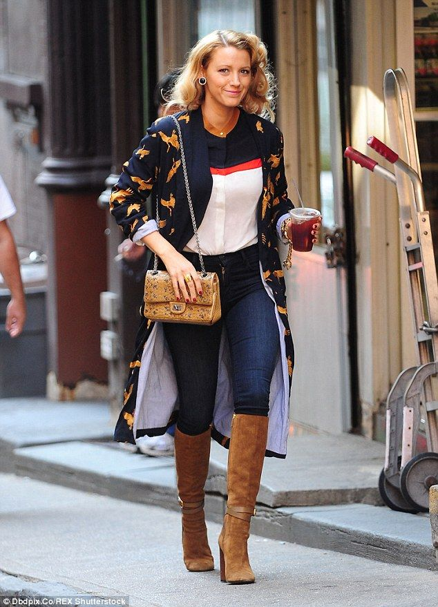 Break time: Blake Lively looked lovely in her clashing outfit as she grabbed a break from filming an as yet untitled Woody Allen film in NYC earlier this week