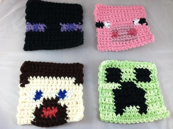 Crochet Minecraft-In: Crochet Ideas, Knit Crochet, Crochet D I Y, Crafty Elf, Crafts Crochet Diy Project, Crochet Crafts, Minecraft Inspired Coasters, Crochet Minecraft Inspired