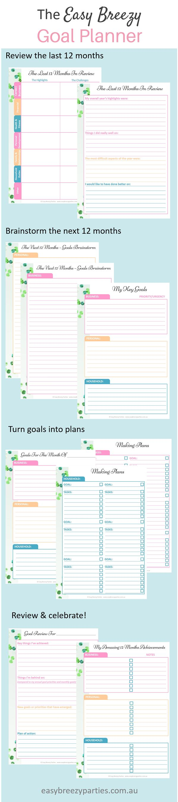 A FREE downloadable goal planner that's pretty and practical - brainstorm, set goals, turn them into action plans, and review your progress. Download from http://www.easybreezyparties.com.au/party-inspiration-and-ideas/item/35-free-downloadable-goal-planner.html #goalplanning #easybreezylife