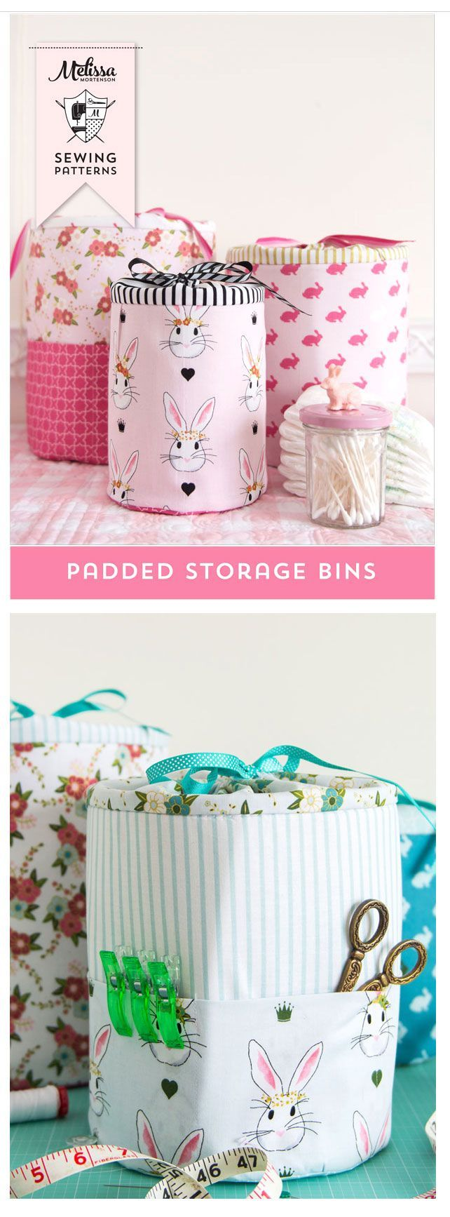 Sewing Pattern For Padded Storage Bins In 3 Sizes. Make Great And Really  Cute Storage