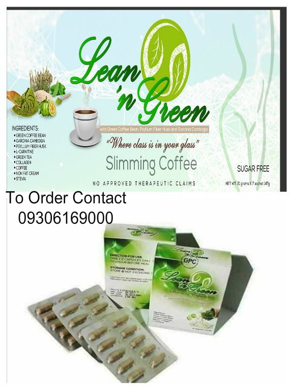 """Try Lean 'N Green Slimming Coffee! The VERY FIRST GREEN COFFEE in the market with PSYLLIUM FIBER HUSK, GARCINIA CAMBOGIA, Green Tea Extract, Collagen, locally grown Coffee Bean, Stevia and Non-dairy/Non-fat Cream! ☕️NO LBM ☕️NO PALPITATIONS ☕️NO HEADACHE ☕️GUARANTEED WEIGHT LOSS IN 7 DAYS! ☕️w/ FDA LTO License No. ☕️HALAL Certified Perfect para sa mga ka-besh natin na: ✅Bloated ✅Constipated ✅Sawa ng magsuot ng damit na puro XL ✅Wants to get rid of """"love.."""