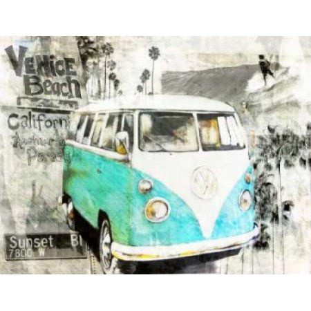 Posterazzi Beach Van - green Canvas Art - Bresso Sola (22 x 28)
