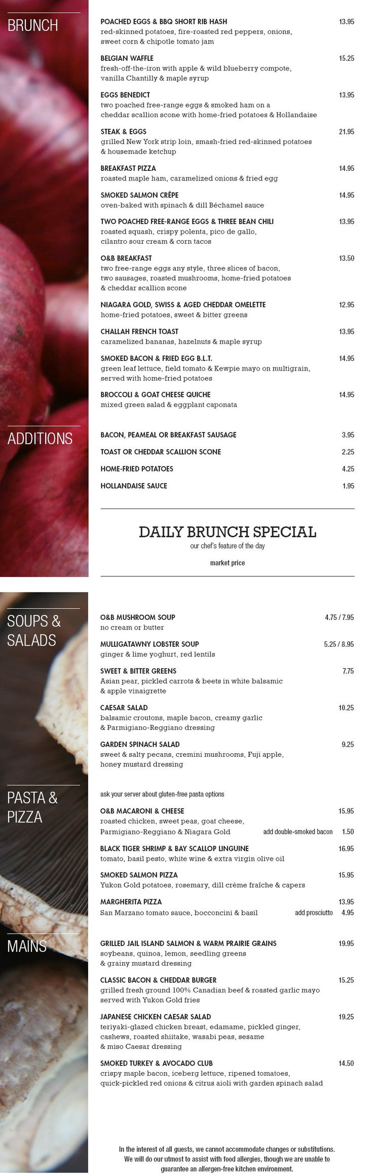 Oliver & Bonacini - OB Brunch menu