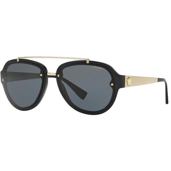 Versace Black Aviator Sunglasses - ve4327 (365 CAD) ❤ liked on Polyvore featuring men's fashion, men's accessories, men's eyewear, men's sunglasses and versace mens sunglasses