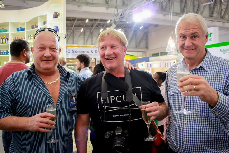 The big bosses celebrate together:  Rudi Eggers, CEO of International Slab Sales, Bruce Macdonald (flash mob director) of Boomtown Films, Trevor King, marketing director for Caesarstone South Africa