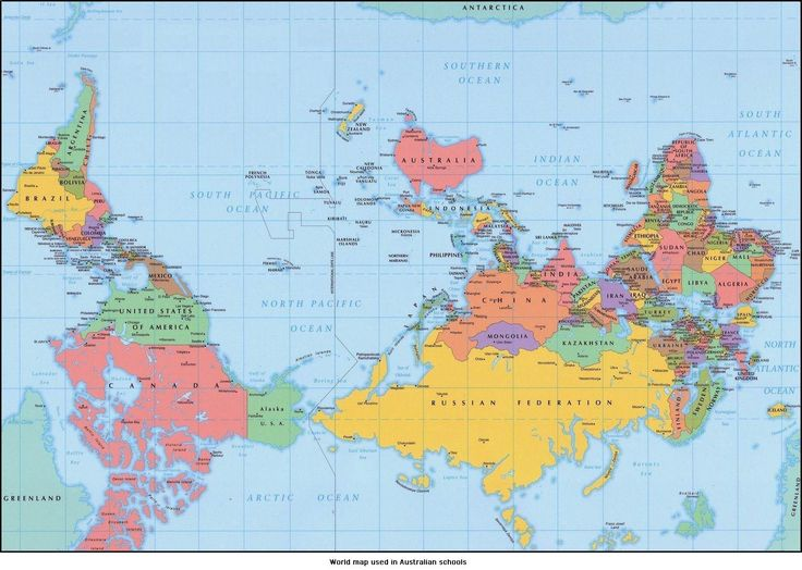 how the world would look if mapping conventions were flipped upside down because orienting north toward the top is a matter of convention