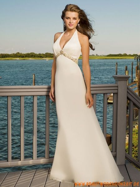 Inexpensive Simple Wedding Dress Made Of Chiffon Bottom Long V Neck