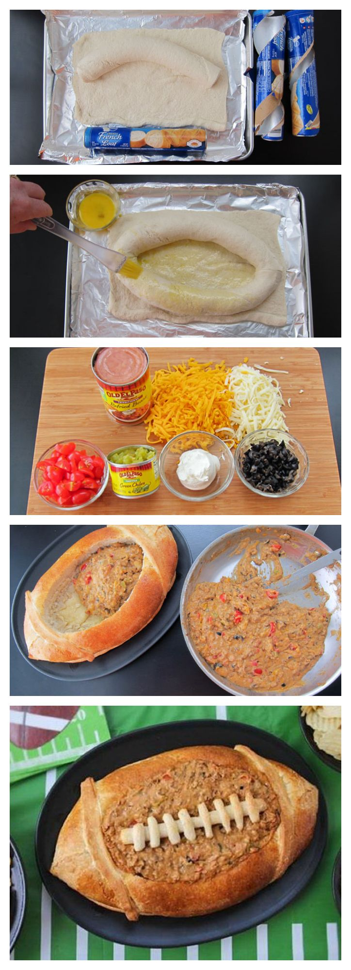 Taco Dip in a Football Bread Bowl #GameDay