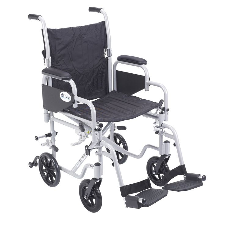 """Drive tr18 Poly Fly Light Weight Transport Chair Wheelchair with Swing away Footrests. The Poly-Fly High Strength Lightweight Wheelchair/Flyweight Transport Chair Combo by Drive Medical can be used as a standard, self propelled wheelchair or as a transport chair, all-in-one for your convenience. The quick release 24"""" wheels can be easily removed to transition from a wheelchair to a transport chair. Also comes with two sets of aluminum wheel locks, one for use with wheelchair and one for use…"""