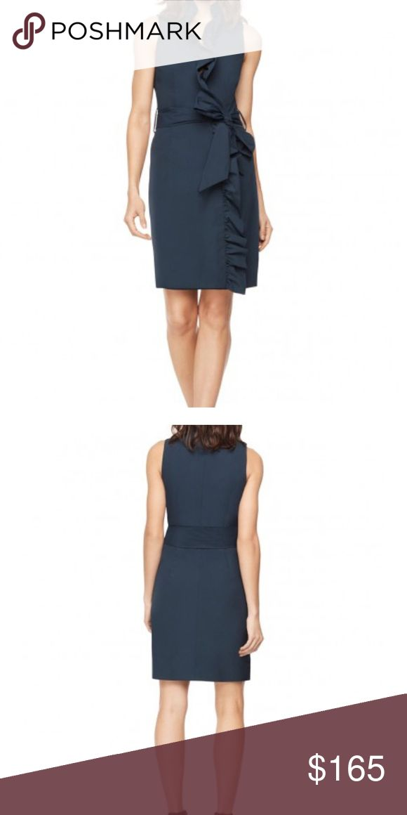 """NWT Milly Navy Ruffle Wrap Dress Cotton Stretch Poplin Ruffle Front Dress. Fashioned in Spanish cotton stretch poplin. Sleeveless wrap dress with asymmetrical ruffle front.  -Ruffle v-neckline -3"""" self tie waist with tie loops -Side slash pockets -Waist seam (size 4): 29"""" -75% Cotton 20% Polyamide and 5% Elastomer -Made with love in NYC Milly Dresses"""