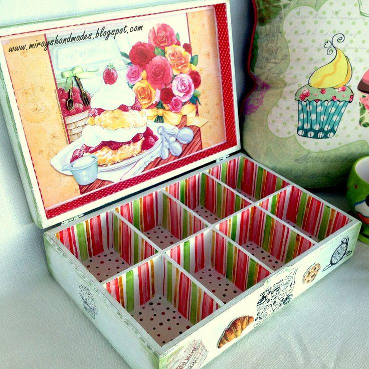 CUPCAKE TEA BOX - Hand Paint and Decoupage (This is Originally made by Mirayshandmades - Miray Yildizli Taskiran From Turkey) mirayshandmades@gmail.com