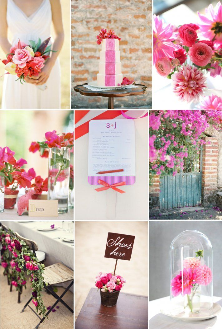 Girly Wedding Color Palette Mixed Hues Of Pink Fuschia Red