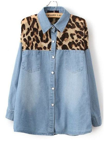 Blue Contrast Yellow Leopard Bleached Denim Blouse
