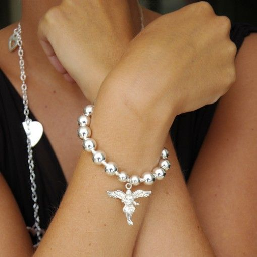 Jasmine My Guardian Angel Charm Bracelet on model