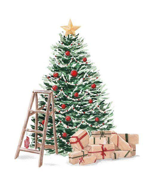 Grand Christmas Tree Fine Art Print S Izobrazheniyami Rozhdestvenskie Illyustracii Rozhdestvenskie Kartiny Rozhdestvenskie Kartinki