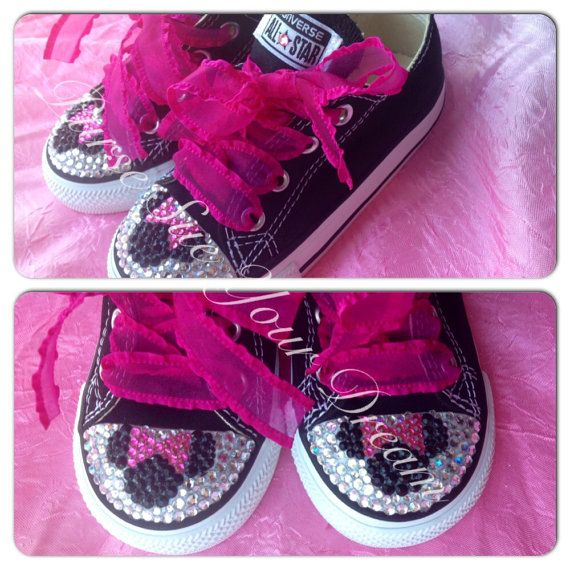 Minnie Mouse Crystal Rhinestone Converse - Bling Converse - Infant/Toddler/Youth/Adult on Etsy, $25.00