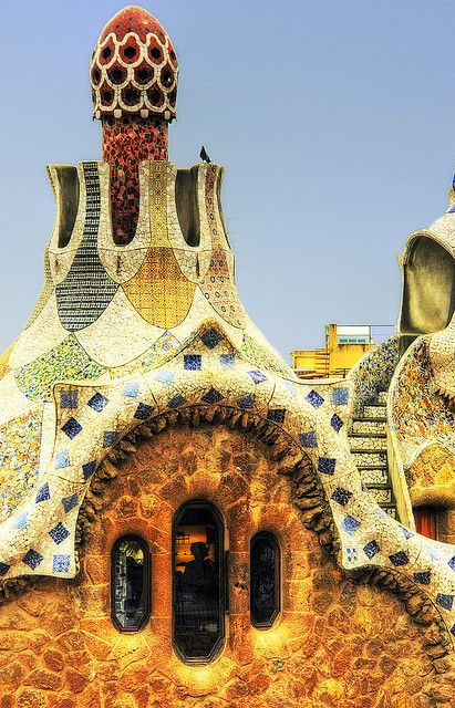 Gate house. Park Guell. Antoni Gaudi. Barcelona, Spain. 1900-14
