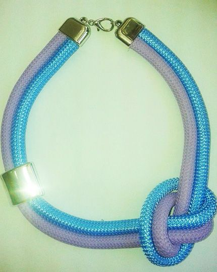 Climbing cord turquoise and purple necklace