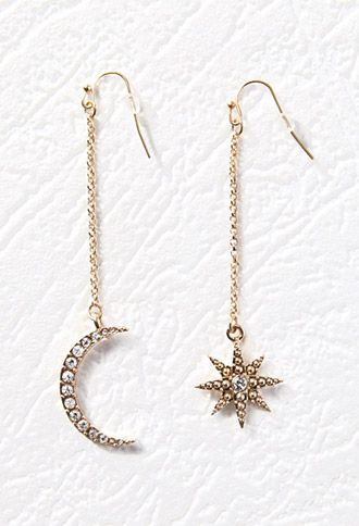 Crescent Moon and Starburst Drop Earrings | Forever 21