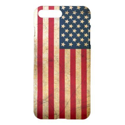 Vintage American Flag iPhone 8 Plus/7 Plus Case - red gifts color style cyo diy personalize unique
