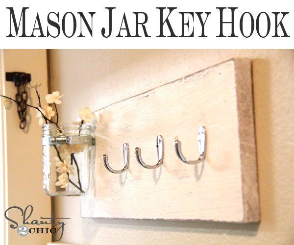 DIY Mason Jar Key Hook: Wall Hooks, Coats Hooks, Keys Hooks, Crafts Ideas, Coats Racks, Jars Keys, Keys Holders, Mason Jars, Diy