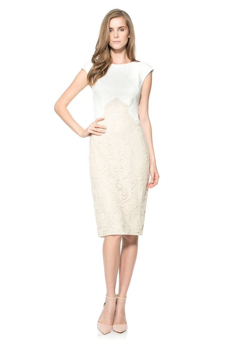 #tadashishoji #casual #dress #beige #simple #elegant #fashion