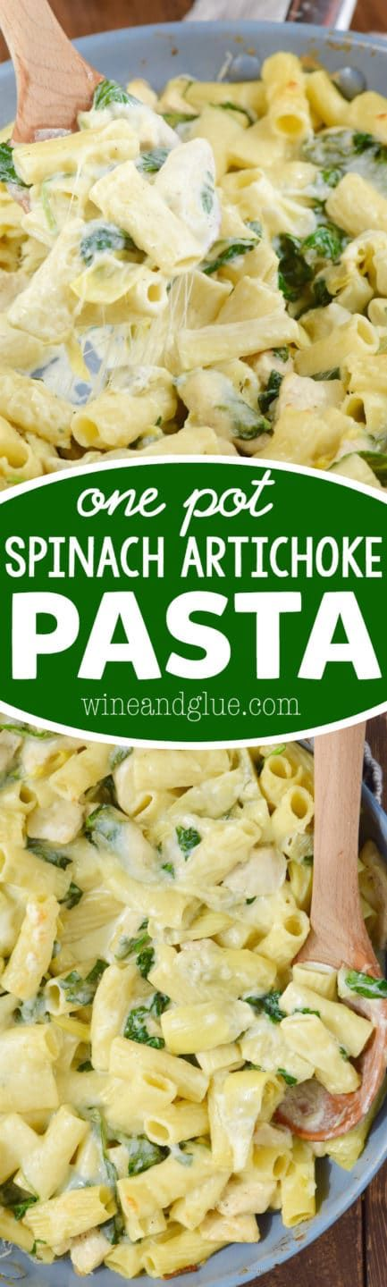 This One Pot Spinach Artichoke Pasta is super easy to throw together and full delicious cheesy goodness!