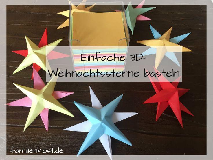3D-Sterne basteln mit Kindern aus Papier: Wir zeigen euch wie ihr mit den Zetteln einer Zettelbox einfach und schnell dreidimensionale Weihnachtssterne basteln bzw. falten könnt: https://www.familienkost.de/artikel_3d_sterne_basteln_mit_kindern.html