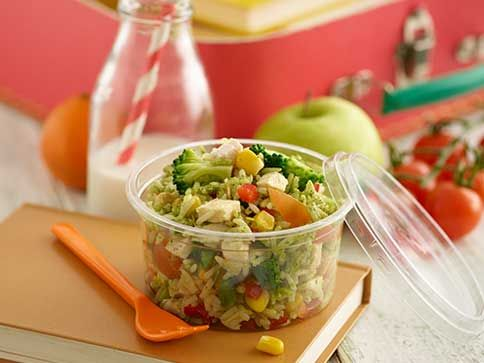 Oozing with colour and lots of yummy goodness, this Pesto Rice Salad is the ultimate lunchbox winner.