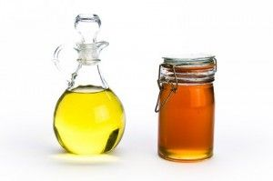 DIY hot oil treatment for dry or damaged hair.