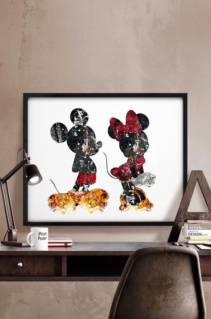 Disney Home Decor Ideas Part - 16: Mickey U0026 Minnie Print, Abstract, Disney Poster, Disney, Art, Mickey And