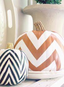 chevron pumpkins, halloween decor, diy