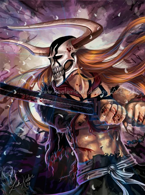 Bleach - Ichigo Kurosaki vasto lorde...this form is sexy misxture of viking and samurai?? and some primitive touch ....rawwwww