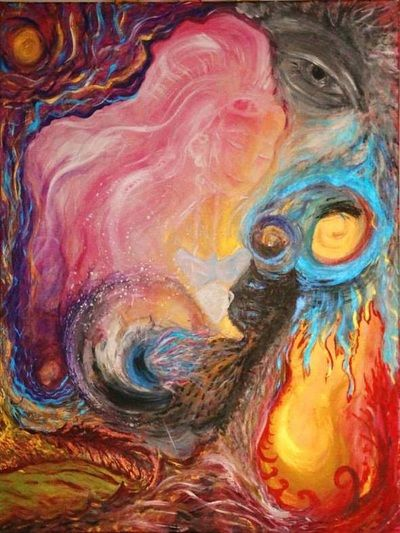 """""""Mother Ayahuasca"""" - Pati Parvati Becker - Acrylic on canvas; Intuitive art, abstract art."""