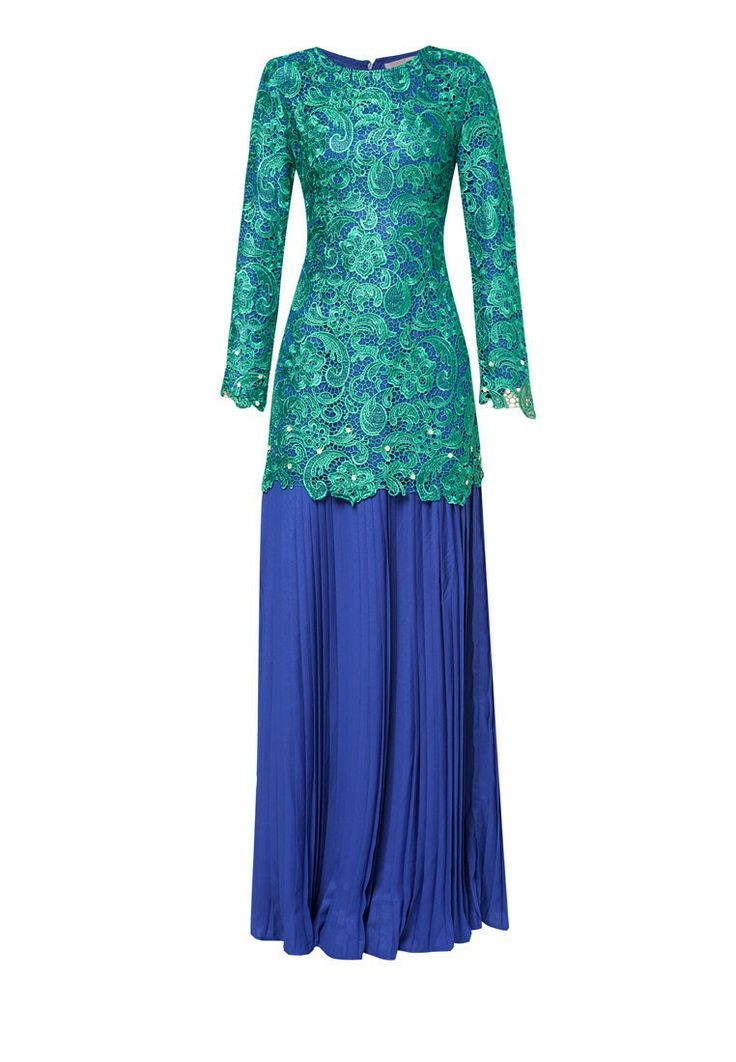 Buy Diana Danielle x Emel by Melinda Looi Embroidered Lace Kurung With Pleated Skirt | ZALORA Malaysia
