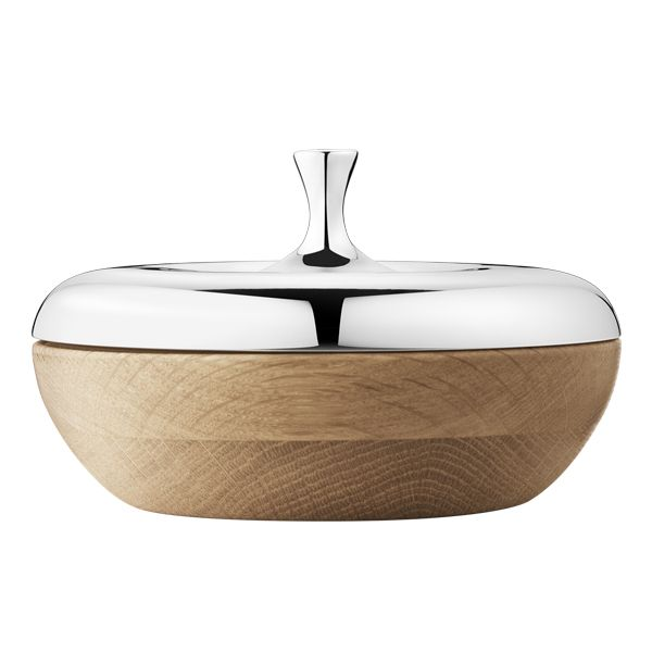 Wood and silver Bonbonniere Turnip designed by Henning Koppel For Georg Jensen, 1960.