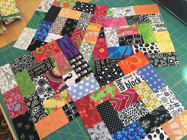 "Cut (18) 2"" x 3.5"" pieces per block. Canton Village Quilt Works | My Scrappy Quilt Progress"