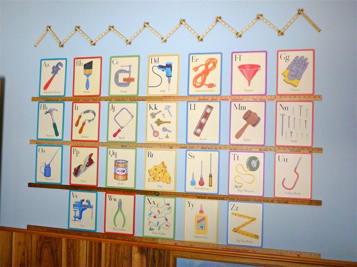 Construction theme boys room tools alphabet cards for Construction themed bedroom ideas