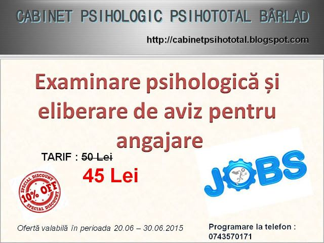 CABINETUL PSIHOLOGIC PSIHOTOTAL BÂRLAD: PSIHOLOGIA MUNCII SI ORGANIZATIONALA: servicii pen...