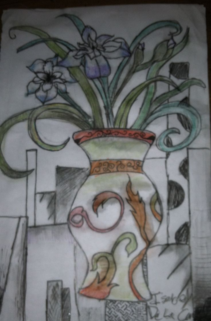 34 best drawing images on pinterest flower drawings flower my watercolor pencil drawing of a vase and flowers reviewsmspy