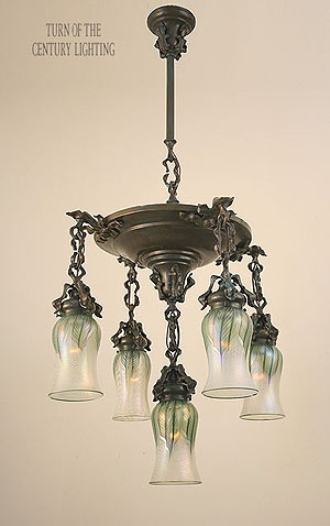 Antique Ceiling Fixture Circa 1910, Five Light, Arts And Crafts Cascade Fixture With Rustic Leaf And Floral Details. Verde Patina & Waxed Finish.