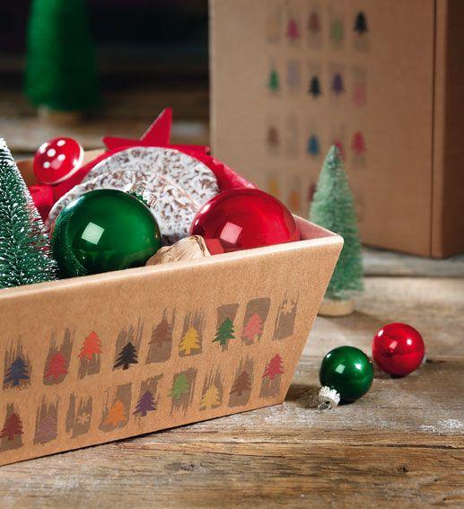 Geschenkkorb HAPPY CHRISTMAS aus naturbelassener Wellpappe
