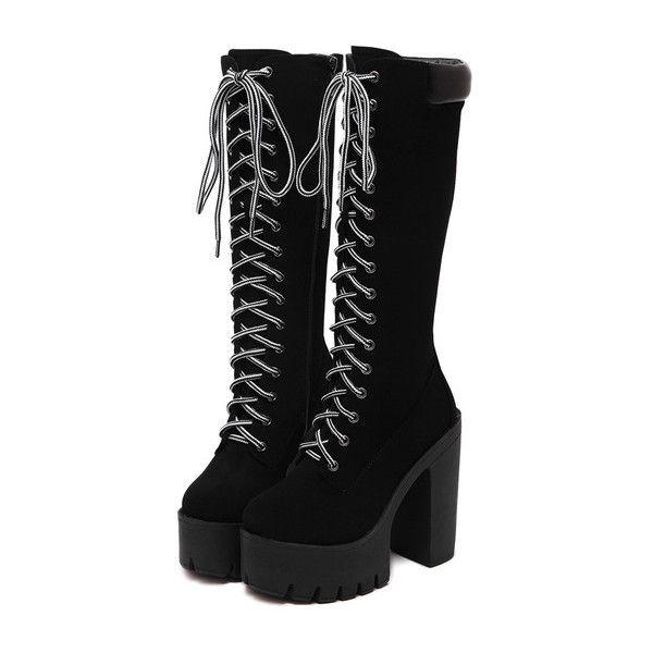 b6a1ca7637 SheIn(sheinside) Black Chunky Heel Hidden Platform Boots ($54) ❤ liked on  Polyvore featuring shoes, boots, heels, winter boots, high heel b…