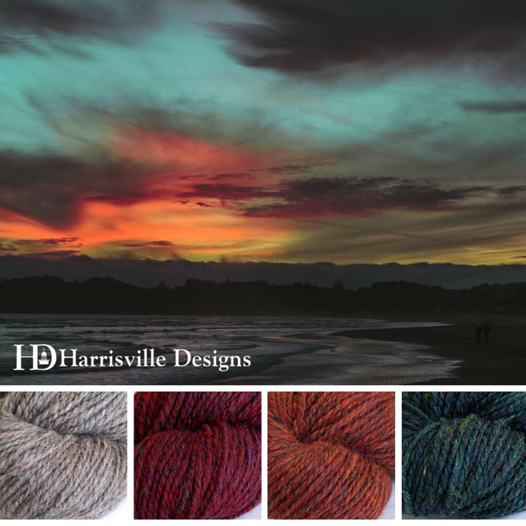 'Summer Sunset' color palette features WATERshed yarn in Driftwood, Monarch, Barn Door, and Mallard (inspiration for this yarn came from canoeing through the watershed in Harrisville, New Hampshire)