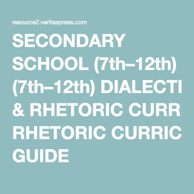 SECONDARY SCHOOL (7th–12th) DIALECTIC & RHETORIC CURRICULUM GUIDE