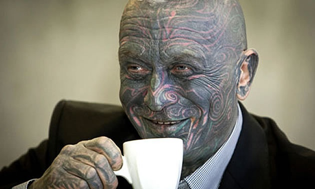 Meet Vladimir Franz, an opera composer and painter - tattooed from head to toe, his face a warrior-like mix of blue, green and red. He's also running in a surprising third place ahead of this week's Czech presidential elections. (via Vladimir Franz: tattooed composer polling strongly in the Czech elections | World news | guardian.co.uk)